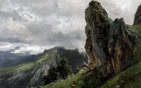 Picture landscape, mountains, rocks, picture, Carlos de Haes, The Picos de Europa