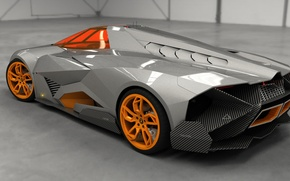 Picture Concept, Auto, Lamborghini, View, The concept, Top, Orange, Car, Back, 2014, Egoista