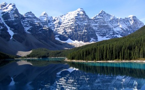 Picture forest, mountains, lake, Canada