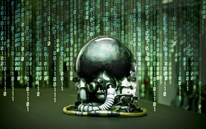 Picture reflection, background, figures, helmet, matrix