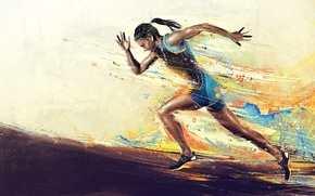 Picture Color, Girl, Sport, Girl, Running, Color, Desire, Sport, Running, The desire