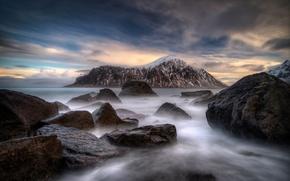 Picture sea, the sky, clouds, snow, fog, stones, shore, Norway, Lofoten