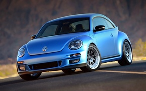 Picture Machine, Tuning, Blue, Car, Car, Blue, Wallpapers, Turbo, Tuning, Volkswagen, Beatle, Wallpaper, The front, by …