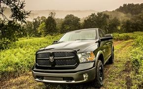 Picture Dodge, black, road, truck, 1500, Ram, vegetation, hemi, HEMI, 5.7-liter