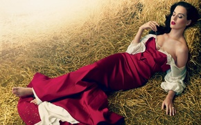 Picture girl, dress, brunette, hay, Katy Perry, Katy Perry, singer, spike