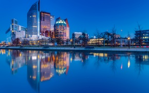 Wallpaper Hague, reflection, home, The Hague, Netherlands, water, the evening, promenade, river