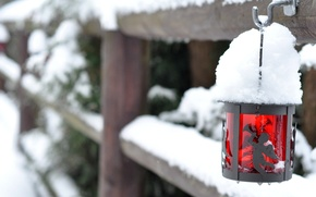 Picture winter, glass, snow, red, the fence, fence, flashlight, lantern