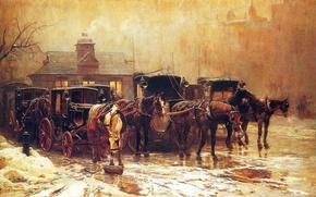 Picture snow, horse, London, picture, the evening, slush, postal station