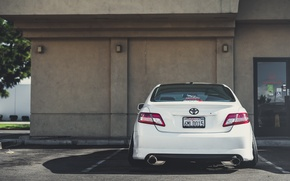 Picture back, white, white, toyota, Toyota, camry, Camry, stance