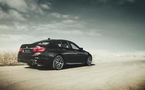 Picture BMW, BMW, black, black, f10, road. clouds