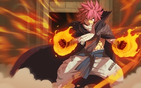Picture fire, battlefield, red, flame, game, magic, fighter, red hair, war, anime, fairy, man, boy, fight, …
