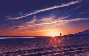 Picture sea, beach, sunset