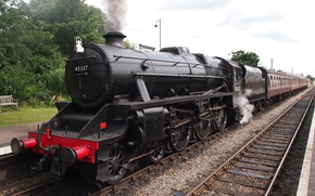 Picture train, the engine, station, cars, railroad, LMS Stanier 5MT - 45337