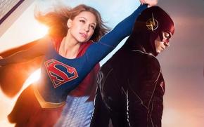 Picture crossover, supergirl, Flash, Barry Allen, Melissa Benoist, Grunt Gustin, Kara Denver