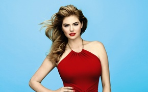 Wallpaper pose, background, model, makeup, dress, actress, hairstyle, beautiful, in red, sexy, Kate Upton, Kate Upton