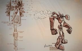 Wallpaper mechanism, scheme, robot