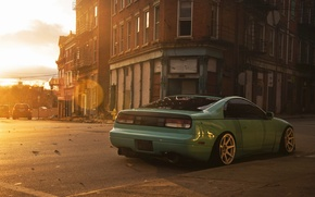 Picture the city, green, street, Nissan, side, Nissan, 300zx, fairlady, russet