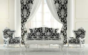 Picture interior, chair, Drapes, luxurious interior