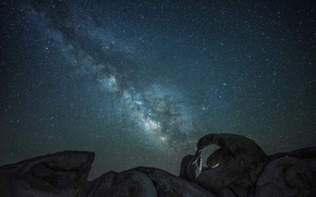 Picture space, stars, nature, stones, the milky way