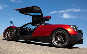 Picture the sky, red, door, supercar, Pagani, rear view, Pagani, To huayr, Wire