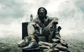 Picture stones, gun, gas mask, Stalker, rope