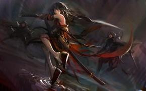 Picture water, girl, sword, art, battle, opponents, blueman, pixiv fantasia