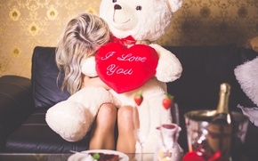 Picture gift, heart, bear, blonde