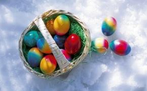Wallpaper basket, Easter eggs, snow, krashanki
