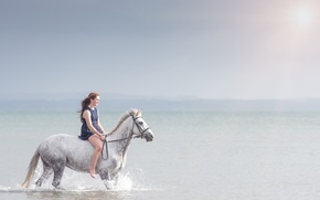 Picture sea, girl, horse