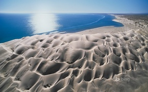 Picture sand, sea, the sky, the sun, landscape, glare, dunes