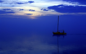 Wallpaper sea, landscape, night, boat