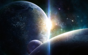 Wallpaper stars, light, lights, planet, the moon, civilization