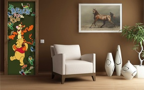 Picture design, style, room, interior, picture, chair, vases