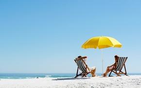 Picture sea, beach, summer, stay, umbrella, sunbed