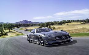 Picture Mercedes-Benz, Sky, AMG, SLS, GT3, Tuning, Road, Motion, Sportcar