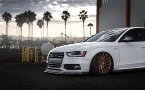 Picture Audi, Car, Front, White, Stance, Vossen, Wheels, Tuned