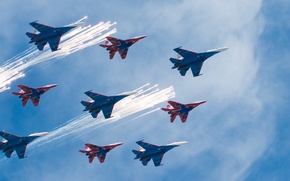 Picture the sky, fighters, Aviation, Swifts, Russian knights