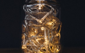 Picture lights, wood, table, jar