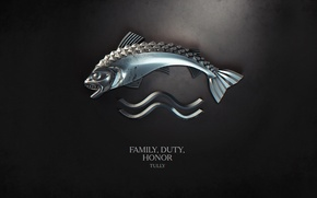 Wallpaper wave, water, fish, book, the series, coat of arms, motto, Family, A Song of Ice ...