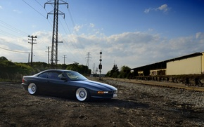 Picture black, bmw, BMW, black, side view, e31, power line, 840cl