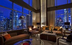 Picture room, sofa, view, Windows, interior