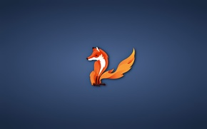 Picture minimalism, Fox, firefox, fox, blue background