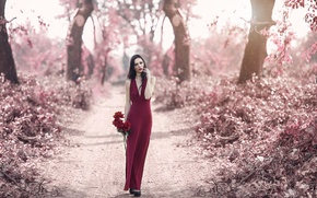 Picture road, autumn, flowers, style, mood, model, roses, dress, red dress