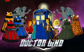 Picture space, stars, The simpsons, parody, Doctor Who, Doctor Who, The TARDIS, The Simpsons, TARDIS, Far, …