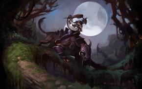 Wallpaper forest, the moon, art, rider, beast, dota, luna