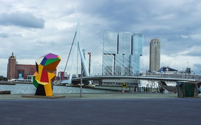 Picture the sky, water, the building, Bridge, The city, sculpture, architecture, sky, rotterdam, holland, Rotterdam, arhitect