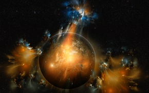 Wallpaper fiction, planet, stars, space