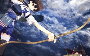 Picture the sky, clouds, weapons, anime, bow, art, arrows, kantai collection, akagi, nakamura takeshi, kaga. girls