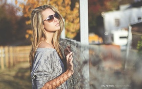 Wallpaper glasses, model, girl, on the street