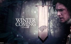 Wallpaper winter, snow, wolf, flag, motto, Game of Thrones, Game of thrones, Jon Snow, Bran, Stark